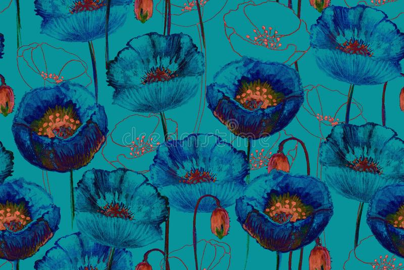 Art poppy seamless pattern. stock illustration