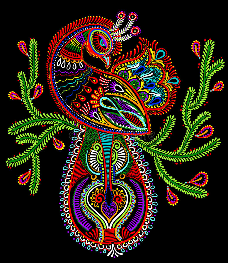 Art populaire ethnique d'oiseau de paon avec la floraison illustration libre de droits