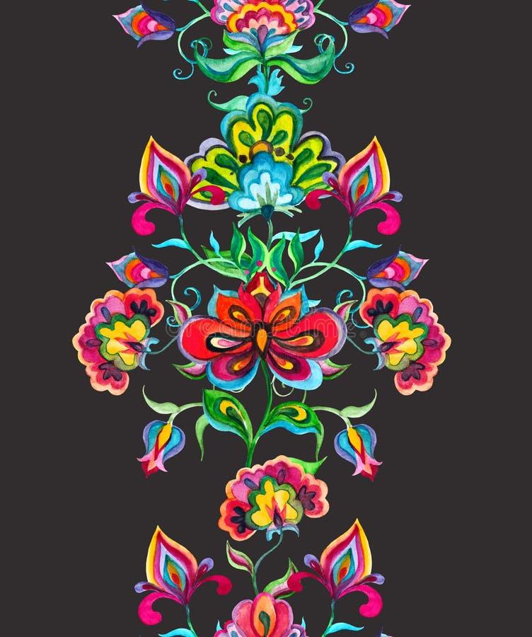- Art populaire floral européen - la frontière sans couture orientale avec la main stylisée a ouvré des fleurs Rayure d'aquarelle illustration de vecteur