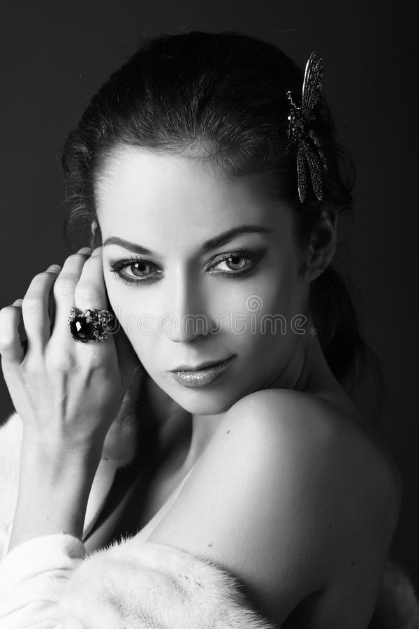 Download Art Portrait In Black And White Stock Image - Image: 23497407