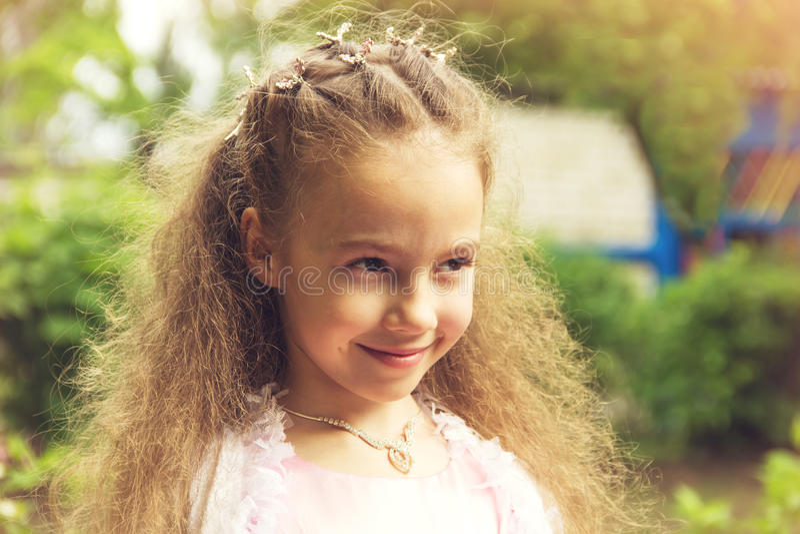 Art portrait of a cute little girl wearing princess dress.Toned. royalty free stock photos