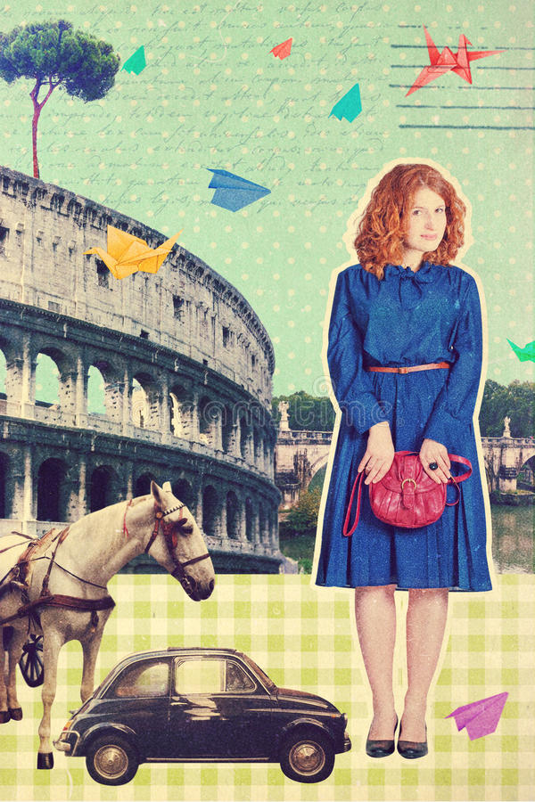 Art postcard, vintage style royalty free stock photography