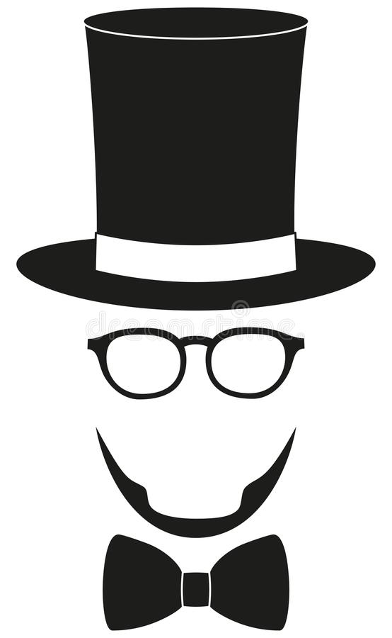 Art poster man father dad day avatar element set tall hat glasses beard, beaver, bow tie silhouette. Icon poster man father dad day avatar element set tall hat vector illustration