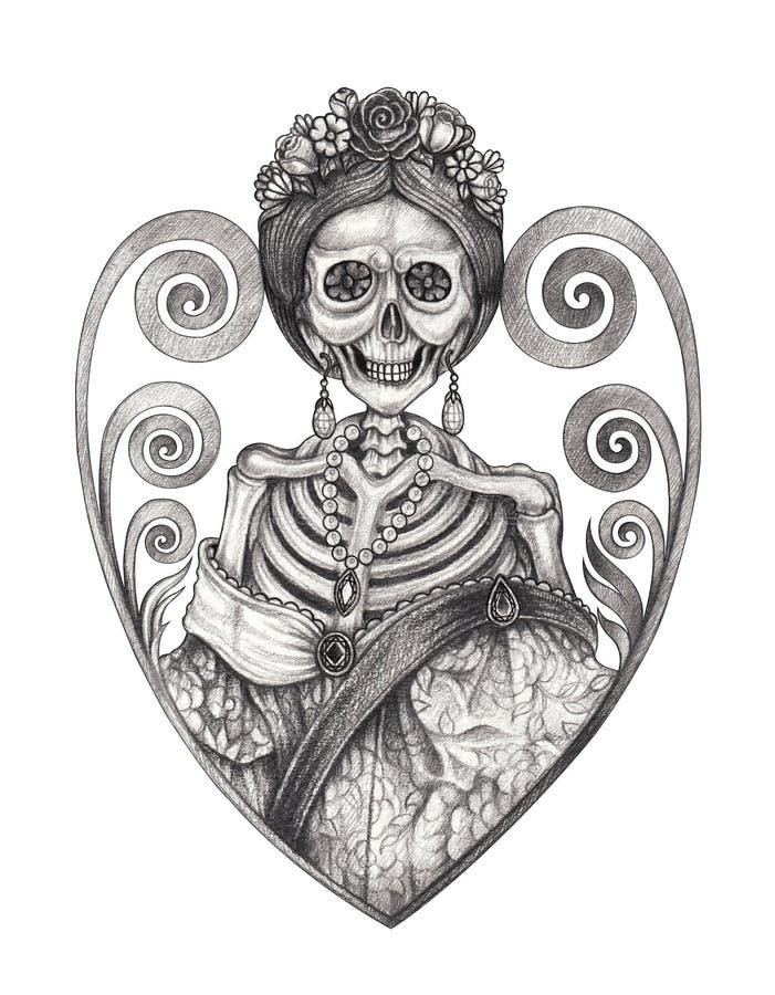 Art Princess Skull Tattoo ilustração royalty free