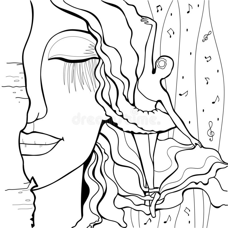 Art Print. Ballerina. Coloring book for adults royalty free stock photo