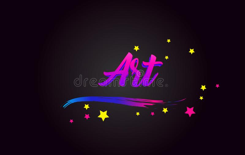 Art Purple Handwritten che segna tipografia con lettere Parola per il logotype, distintivo, icona, carta, cartolina, logo, insegn royalty illustrazione gratis