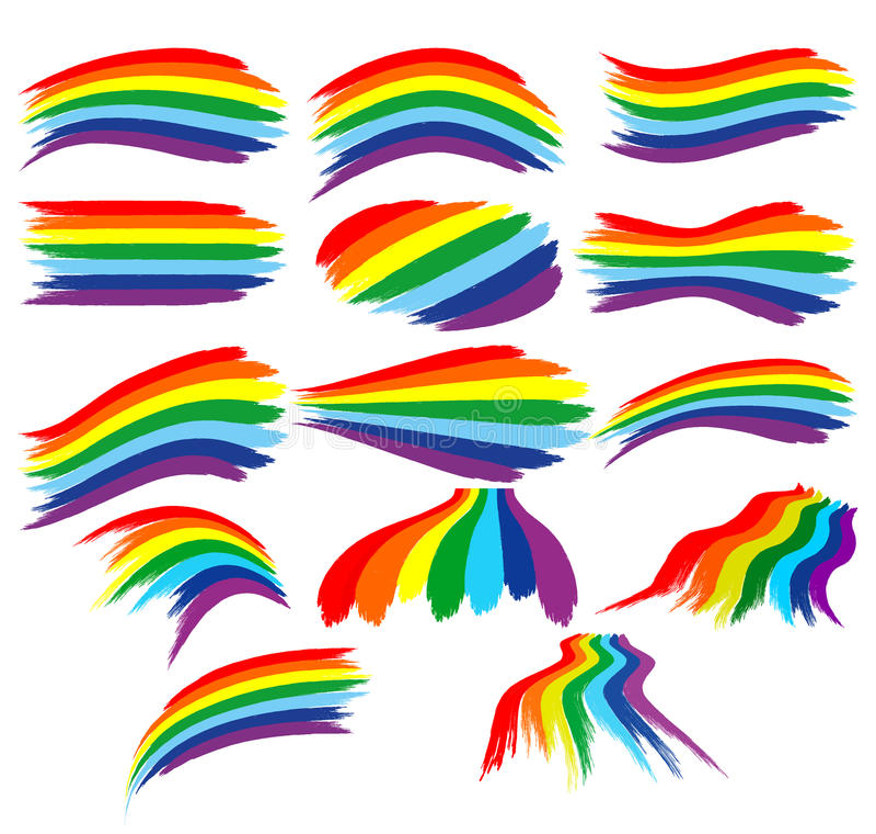 Art Rainbow Colorful Brush Strokes  Set Stock Illustration