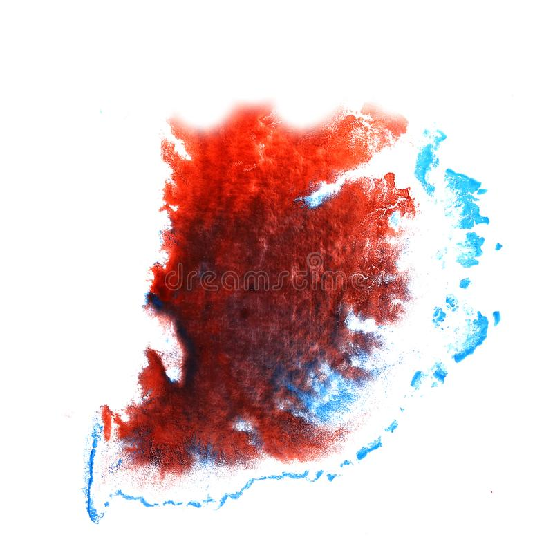 Art Red, black, dark blue watercolor ink paint blob watercolour. Splash colorful stain isolated on white background stock images