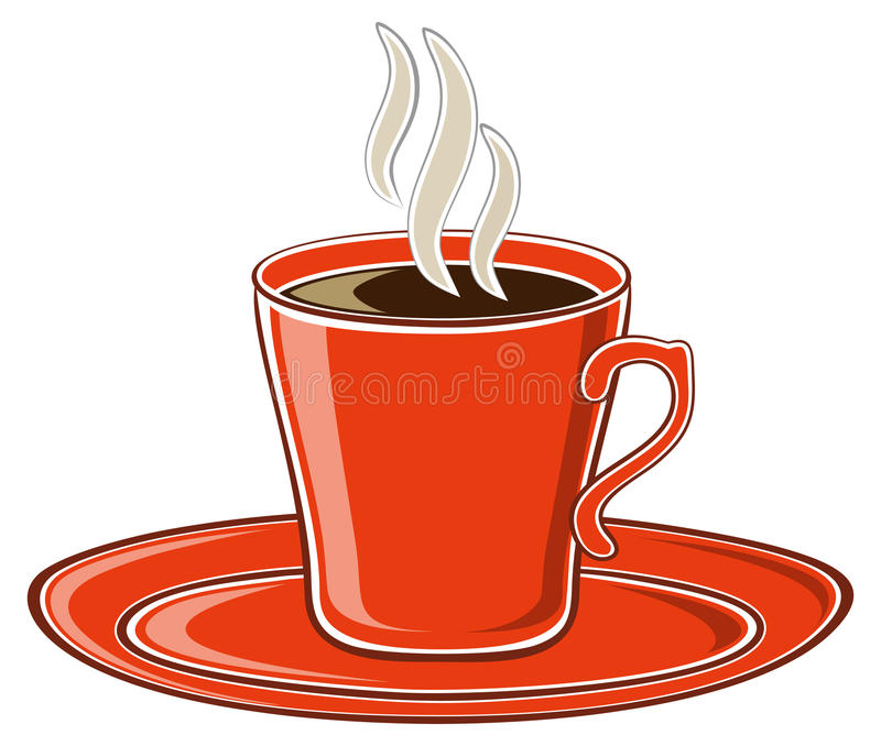Art red cup of coffee royalty free illustration