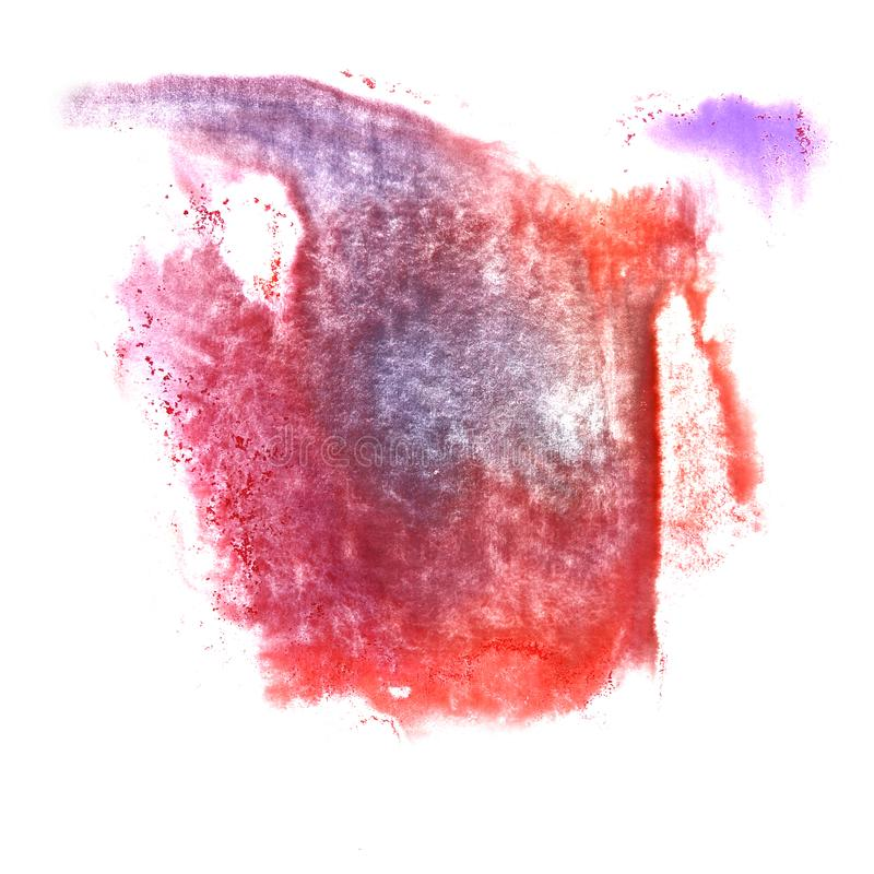 Art Red, dark blue, violet watercolor ink paint blob watercolour stock photo