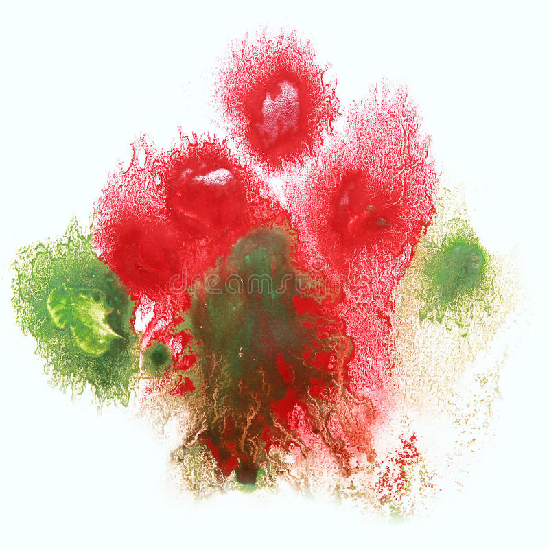 Art red, green watercolor ink paint blob. Watercolour splash colorful stain isolated on white background texture royalty free stock image