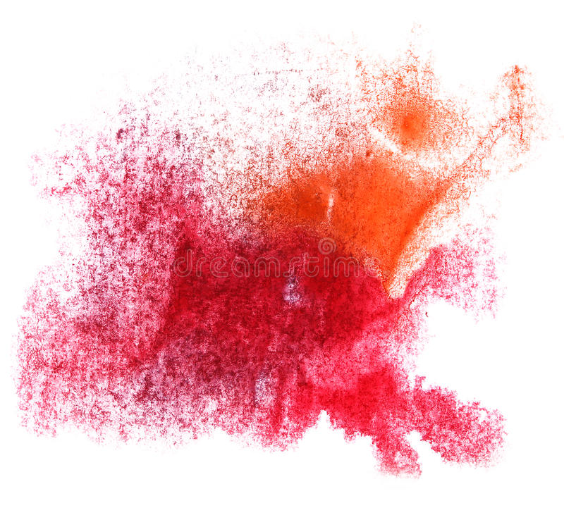 Art red orange watercolor ink paint blob. Watercolour splash colorful stain isolated on white background texture royalty free stock photos