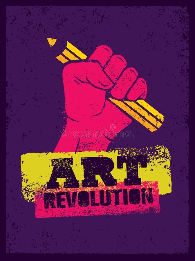 Art Revolution Creative Poster Concept Mão que guarda o vetor do estêncil do lápis ilustração royalty free