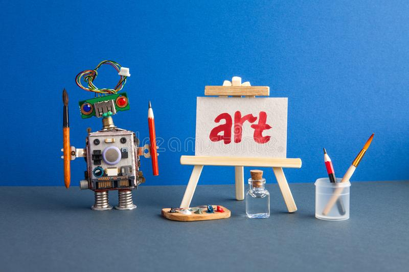 Art and robotic artificial intelligence concept. Robot artist, wooden easel and the handwritten word Art painted red royalty free stock image