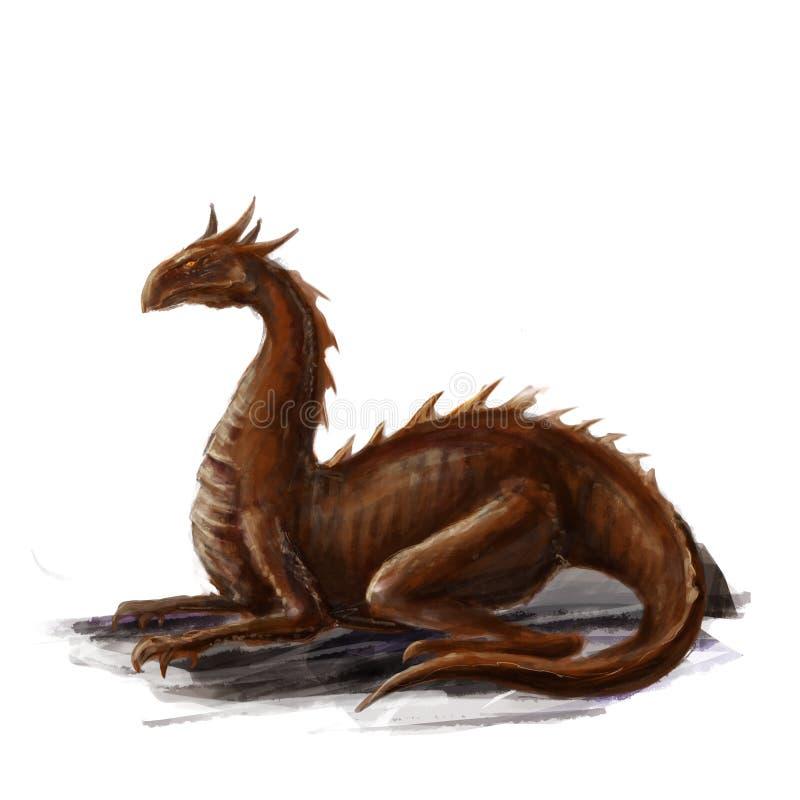 Art rouge menteur de concept de dragon photo libre de droits