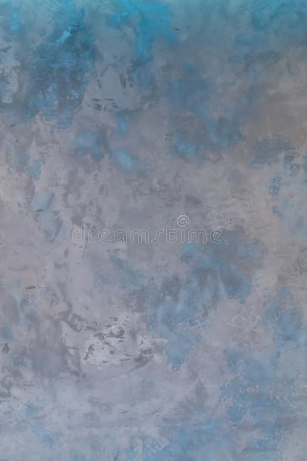 Art rough stylized texture banner with space for text. Blue and gray background texture decorative plaster surface royalty free stock image