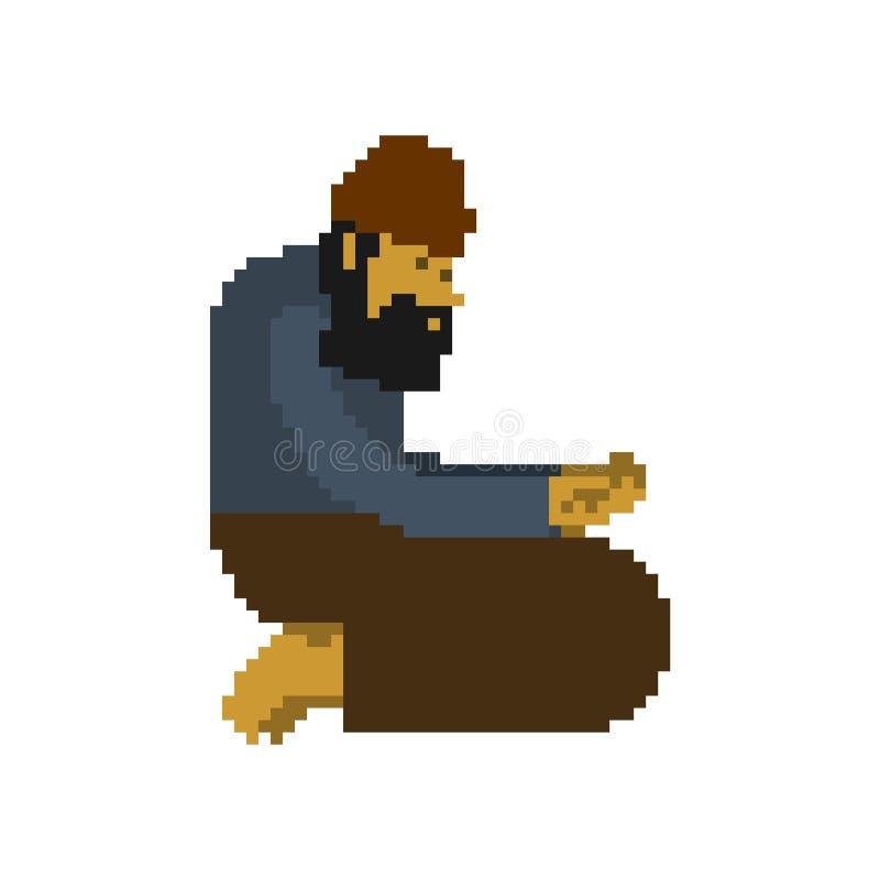 Art sans abri de pixel Bit des mendiants 8 pauvres numériques vecteur sans valeur de clochard illustration stock