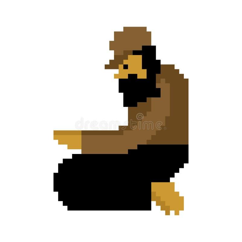 Art sans abri de pixel Bit des mendiants 8 pauvres numériques vecteur sans valeur de clochard illustration libre de droits