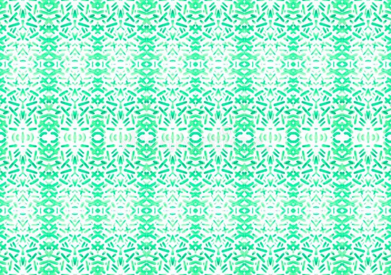 Art sans couture symétrique de texture de modèle de rayures et de chiffre de vert d'aquarelle peint à la main sur le fond blanc a photos stock