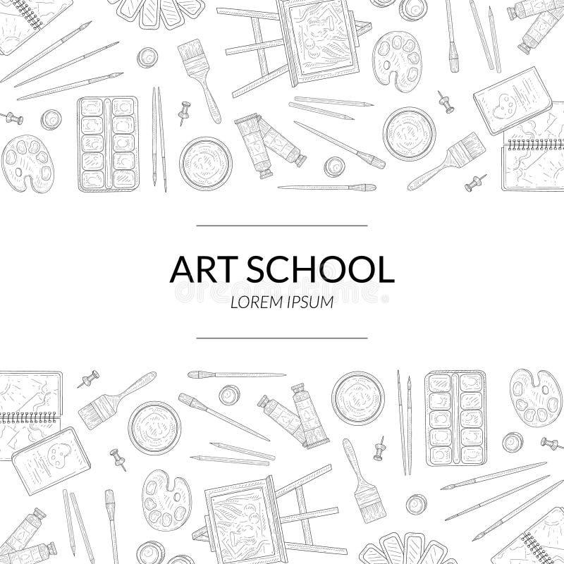 Art School Banner Template mit Platz für Text und künstlerische Materialien übergeben gezogenem nahtlosem Muster einfarbigen Vekt lizenzfreie abbildung
