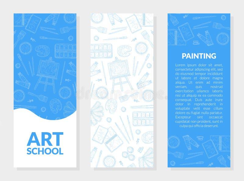 Art School Banner Templates Set mit Platz für Text und künstlerische Materialien übergeben gezogenen nahtlosen Muster-Vektor vektor abbildung