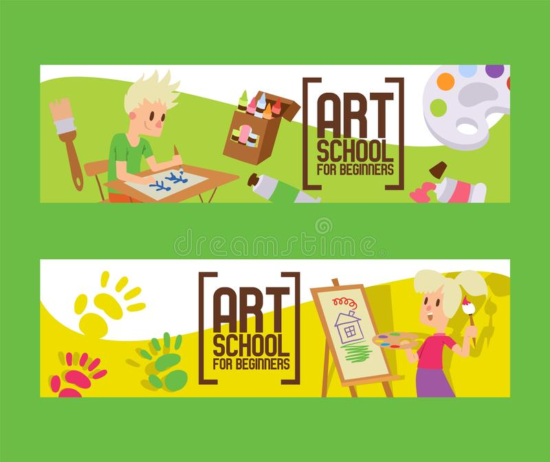Art school for beginners set of banners. Girl and boy drawing, painting, sketching on easel. Education, enjoyment. Art school for beginners set of banners. Girl stock illustration