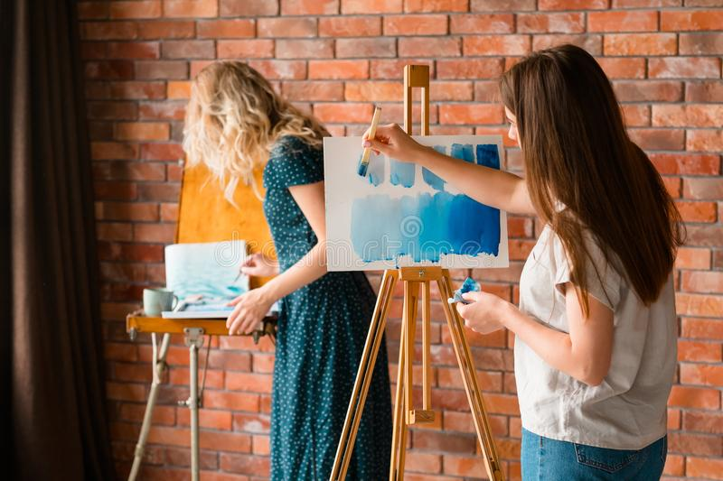 Art school class painting leisure girl draw easel. Art school classes. creativity painting self expression and artful leisure. girl learning to draw with stock photo