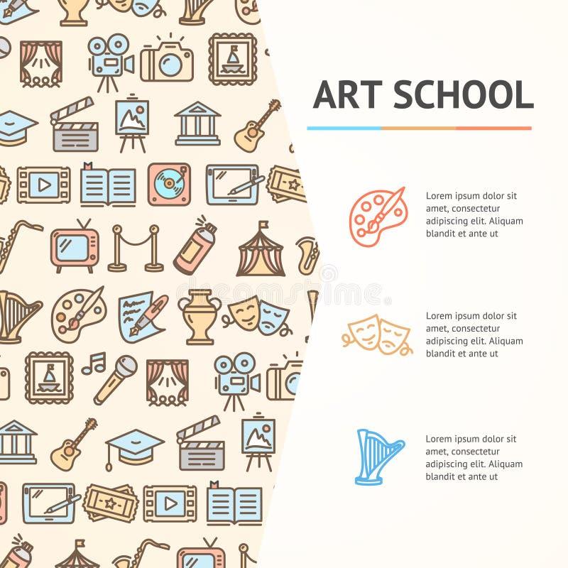 Art School Concept Infographics Banner Vecteur illustration stock