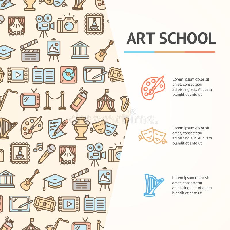 Art School Concept Infographics Banner. Vector. Art School Concept Infographics Banner witch Color Outline Icons for Promotion and Advertising Culture Creative stock illustration