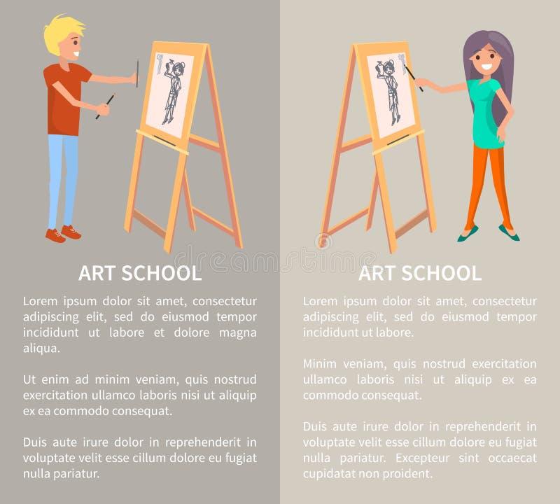 Art School, personnes créatives peignant dans le graphique illustration libre de droits