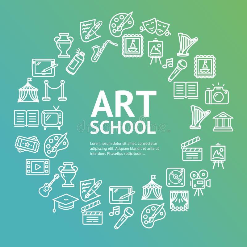 Art School Round Design Template-het Concept van het Lijnpictogram Vector royalty-vrije illustratie