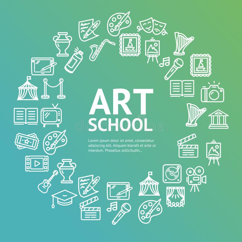 Art School Round Design Template linje symbolsbegrepp vektor royaltyfri illustrationer