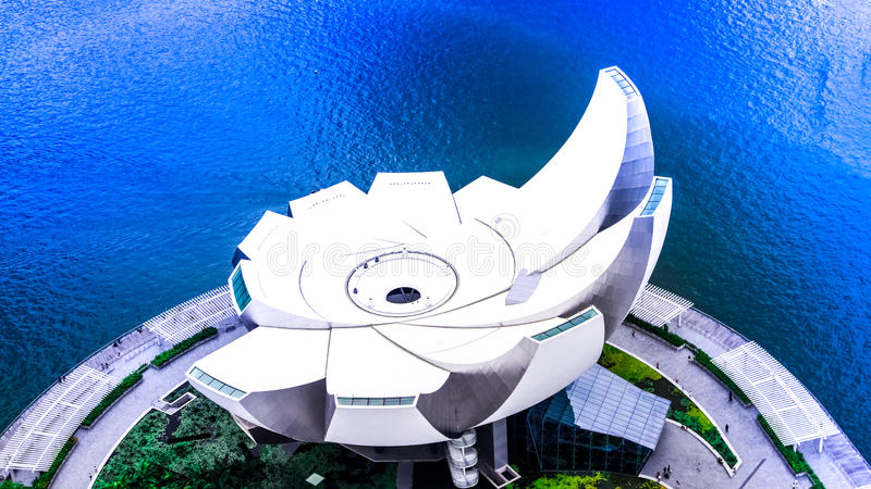 Art Science Museum. A view from the Sky Park of Singapore`s iconic Art Science Museum, a modern marvel in Architecture royalty free stock image