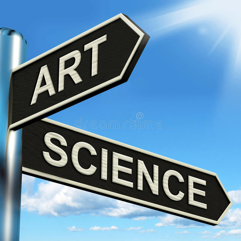 Art Science Signpost Shows Creating o fórmulas ilustración del vector