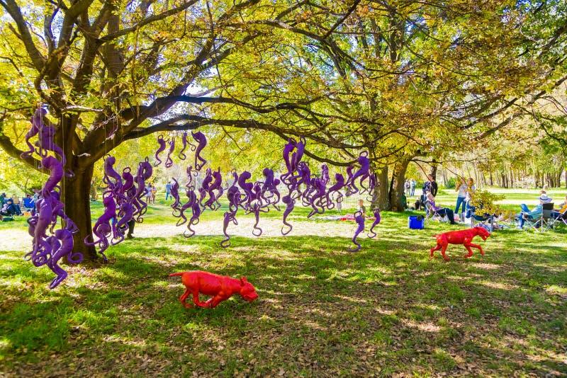 Art Sculpture Exhibition exterior no parque de Nirox imagens de stock royalty free