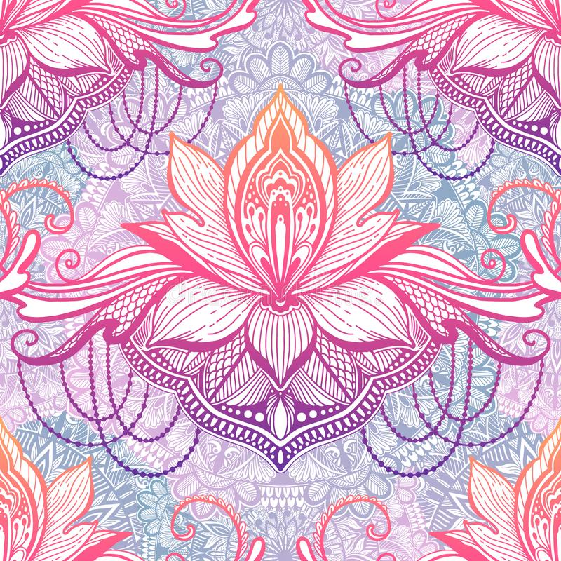 Art seamless pattern lotus flower mandala. Ethnic abstract print. Colorful repeating background texture. Culture bohemian ornament. Vector illustration vector illustration