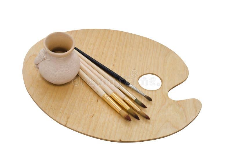 Download Art Set: Palette, Brushes, Pot Stock Image - Image: 11668641
