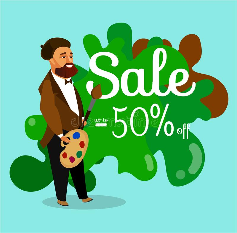 Art Shop Discount Banner, Coupon Vector Template vector illustration
