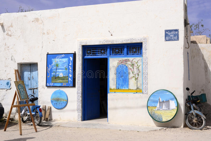 Art Shop in Djerba-Insel, traditionelle arabische Architektur lizenzfreies stockfoto