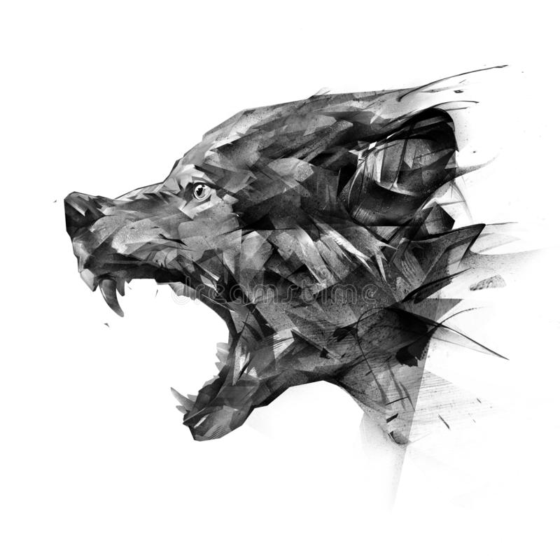 Art side view portrait of a wolf on a white background stock photography