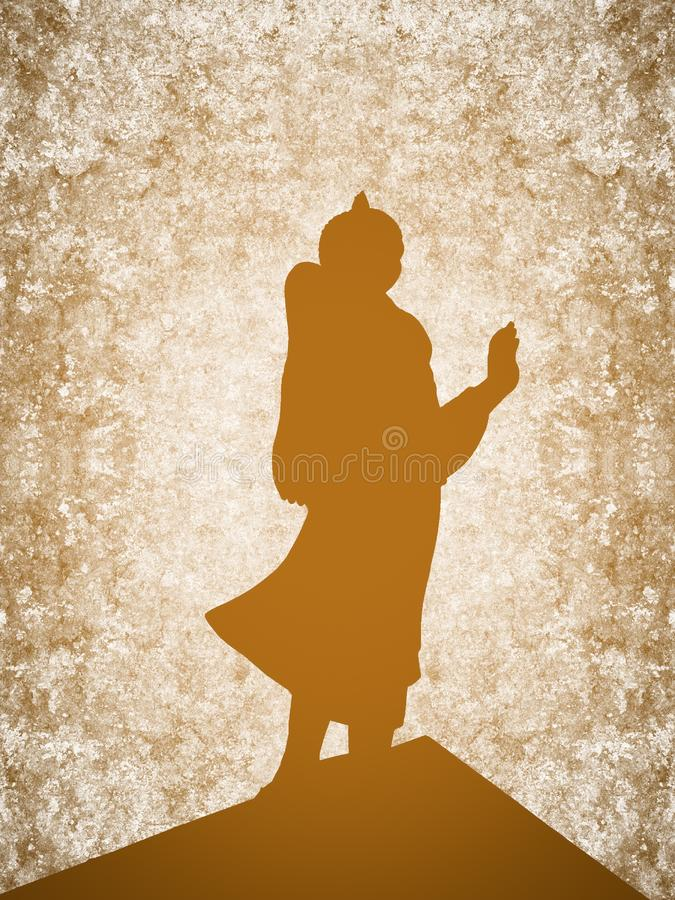 Silhouette buddha statue on grunge brown background. Art silhouette buddha statue on grunge brown background royalty free illustration