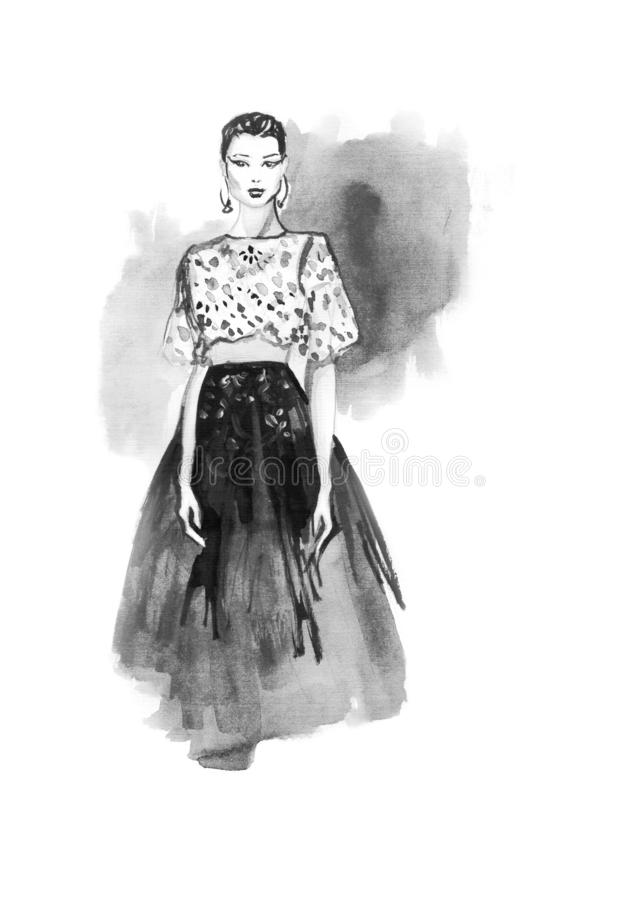 Art Sketch Of Beautiful Young Woman Fashion Illustration Stock Illustration Illustration Of Relaxation Chic 134149277