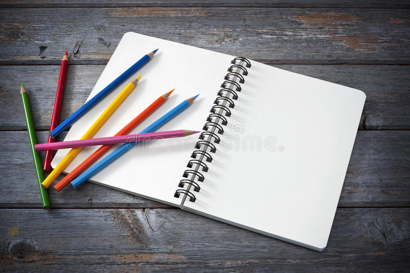 Art Sketchpad Colored Pencils royalty free stock photos