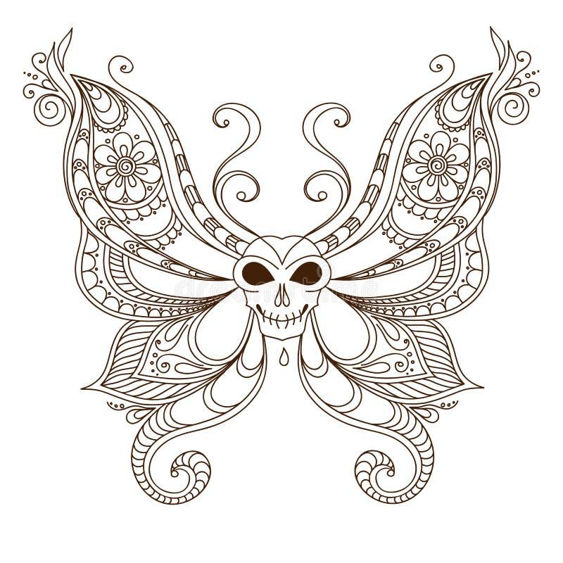 Skull Henna Tattoo: Art Skull Butterfly Tattoo. Henna Mehendi Stock Vector