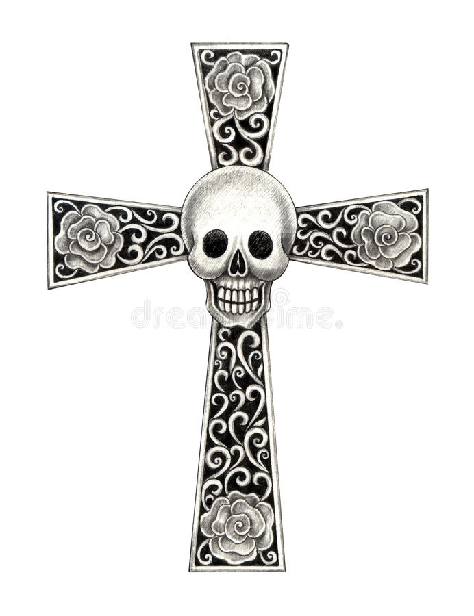 Art skull cross tattoo. Art design head skull mix cross for tattoo hand pencil drawing on paper royalty free stock photography