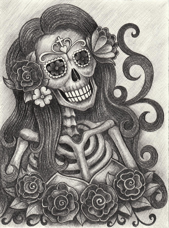 Day Of The Dead Hand Tattoo: Art Skull Day Of The Dead. Stock Illustration