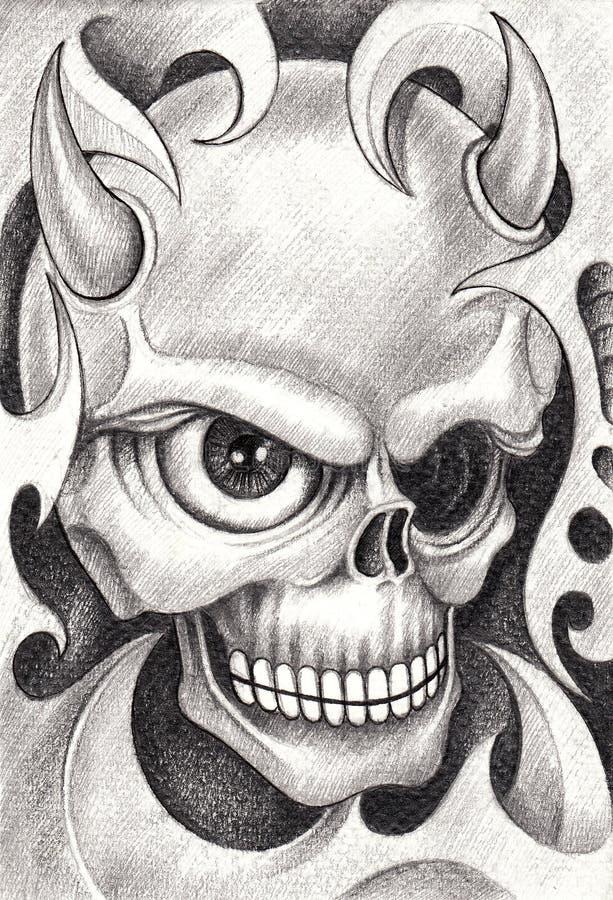 art skull devil tattoo stock illustration image of black 66271734. Black Bedroom Furniture Sets. Home Design Ideas