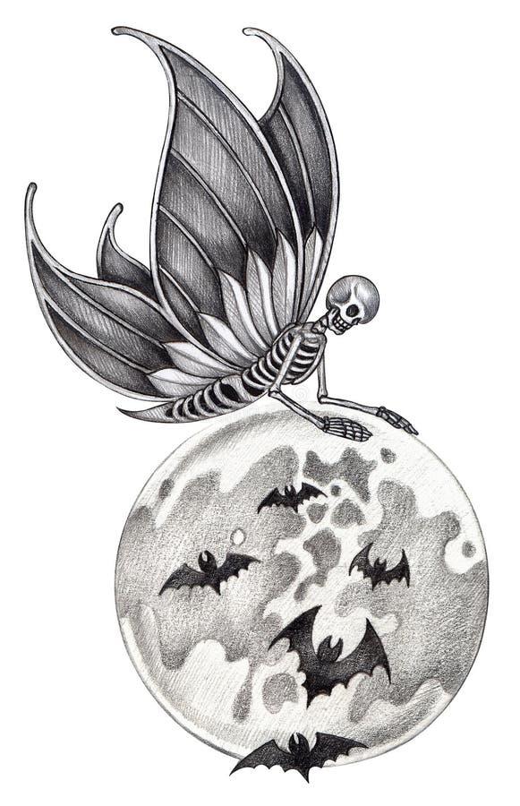 Art skull fairy halloween tattoo stock illustration for Skull fairy tattoos