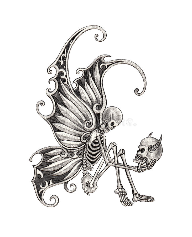 Art Skull Fairy Tattoo. Stock Illustration