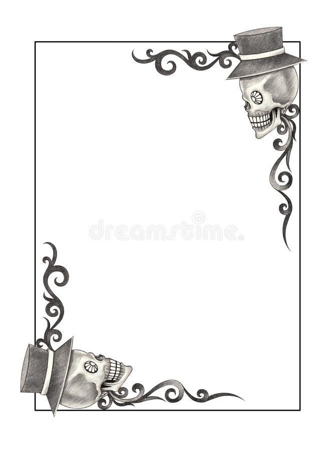 Art Skull frame. stock illustration. Illustration of emotion - 68106510